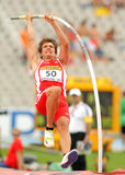 Lukas Wirth of Austria. During Pole Vault event of the 20th World Junior Athletics Championships at the Olympic Stadium on July 10, 2012 in Barcelona, Spain Stock Photos
