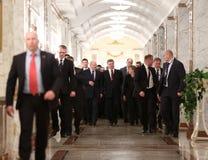 Lukashenko, Poroshenko and Angela Merkel Stock Photo