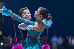 Lukashov Nikita and Kruisberg Sandrina perform Juvenile-1 Standard European program Royalty Free Stock Images