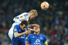 Lukasz Teodorczyk powerful header, UEFA Europa League Round of 16 second leg match between Dynamo and Everton. KYIV, UKRAINE - MARCH 19, 2015: Lukasz Teodorczyk Stock Photo