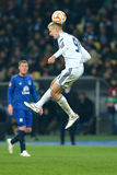 Lukasz Teodorczyk preforms header, UEFA Europa League Round of 16 second leg match between Dynamo and Everton. KYIV, UKRAINE - MARCH 19, 2015: Lukasz Teodorczyk Royalty Free Stock Photo