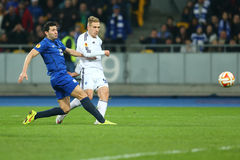 Lukasz Teodorczyk shoots the ball while Antolin Alcaraz tries to block it, UEFA Europa League Round of 16 second leg match between stock photo