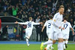 Lukasz Teodorczyk viert genoteerd doel, de Ligaronde van UEFA Europa van 16 tweede beengelijke tussen Dynamo en Everton Royalty-vrije Stock Afbeelding