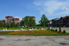 Lukavacv-Stadt ist verzierte Blumen lizenzfreies stockbild
