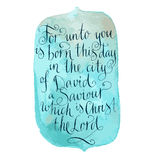 Luke 2:11. Bible text. Christmas calligraphy Royalty Free Stock Photography