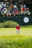 Luke Donald. Takes aim for his putt, on the 9th green Royalty Free Stock Photo