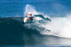 Luke Munro Surfing in the Pipeline Masters royalty free stock photo