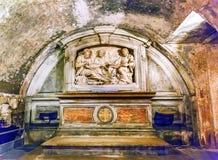 Luke& x27;s House Monument Santa Maria Via Lata Church Rome Italy. Monument Saint Luke, Saint Paul and Saint Peter Luke& x27;s House Underneath Church Santa Royalty Free Stock Photo
