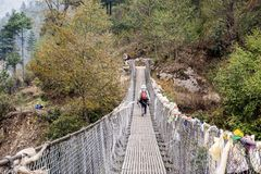 Lukla к Monju, Непалу Стоковые Фото