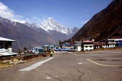 LUKLA, NEPAL: VIEW OF KONGDE RI PEAK 6,187M Royalty Free Stock Photo