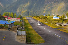 Luklaluchthaven Nepal Stock Foto