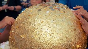 Luknimit jest buddyzmu kamiennym piłką lub granica dryluje błogosławieństwo dla świętowanie pagody założenia zdjęcia royalty free