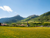 Lukomanierpass Walley. Lukmanierpass Walley, Switzerland: View of the Lukomanierpass Walley. The valley is illuminated by the sun during a beautiful day on the Royalty Free Stock Photo