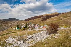 Lukomir, last Bosnia unspoiled village in remote mountains.  royalty free stock photo