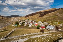Lukomir, last Bosnia unspoiled village in remote mountains.  stock photo