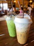 Lukrowa kawa i zamraża geen herbacianego latte Zdjęcie Stock