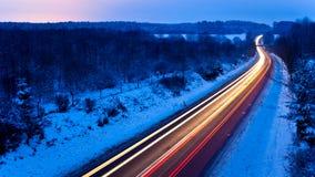 Lukrowa zimy droga Zdjęcia Royalty Free