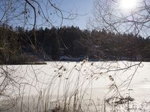 Lukrowy jezioro w trentino Fotografia Stock
