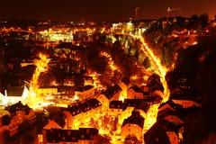 Luksemburg Grund przy nocą fotografia royalty free