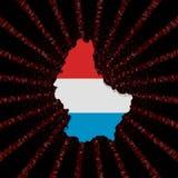 Luksemburg kartografuje flaga na czerwonej hex kodu wybuchu ilustraci Fotografia Stock