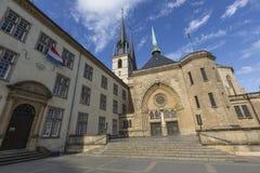01, 2016: Luksemburg miasto LUKSEMBURG, LIPIEC - Paniusia Cathedr Obrazy Stock
