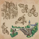 Luksemburg Podróżuje - ręka rysującą wektor paczkę Zdjęcia Stock