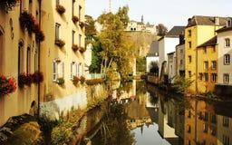Luksemburg przegląda od Grund Obraz Stock