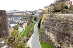 Luksemburg - widok z lotu ptaka Grund fortyfikacje Zdjęcie Stock