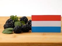 Luksemburg zaznacza na drewnianym panelu z czernicami odizolowywać dalej zdjęcie stock