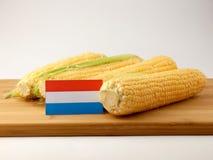 Luksemburg zaznacza na drewnianym panelu z kukurudzą odizolowywającą na bielu fotografia stock
