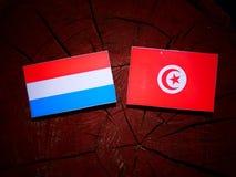 Luksemburg zaznacza z tunezyjczyk flaga na drzewnym fiszorku odizolowywającym fotografia royalty free
