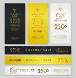 Luksusów stylowi sztandary: zmrok, złoto i srebro, Obraz Royalty Free
