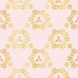 Luksus kratownicy Różany Złocisty Ornamentacyjny wzór, Bezszwowy wektor, Rysujący ilustracji