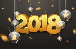 Luksus 2018 nowy rok tła dekoraci wakacje kartka z pozdrowieniami Szklany xmas piłek dekoraci tło z confetti Obrazy Stock