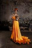 Luksusowa dama w jedwab sukni obraz stock