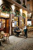 Luksusowa Francuska restauracja na Rucianym Merciere w Strasburg Fotografia Stock