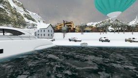 Luksusowa ulica między górami przy snowing zdjęcie wideo