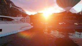 Luksusowa ulica między górami przy zmierzchem zdjęcie wideo