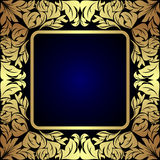 Luksusowa złota kwiecista etykietka na zmroku - błękit Fotografia Stock