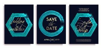 Luksusowe ślubne zaproszenie karty z błękitnymi złocistymi błyskotliwość letterings i ramami; Luksusowy ślubny zaproszenie ramy s ilustracji