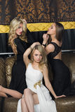 Luksusowe dziewczyny w wieczór sukniach piękne obraz royalty free