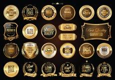 Luksusowe retro odznaki złoto i srebro kolekcja ilustracja wektor