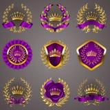 Luksusowe złoto etykietki z laurowym wiankiem royalty ilustracja
