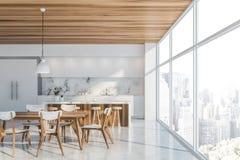 Luksusowego białego loft kuchenny wnętrze z barem ilustracja wektor