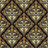 Luksusowego 3d baroku adamaszka bezszwowy wzór Ozdobny rocznik koronki b ilustracja wektor