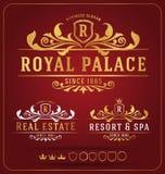 Luksusowego Królewskiego loga projekta Wektorowy Pokaźny szablon Zdjęcia Royalty Free