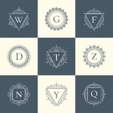 Luksusowego loga rocznika pojęcia piktograma cienki kreskowy set Zdjęcie Royalty Free