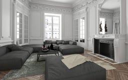 Luksusowego mieszkania żywy izbowy wnętrze royalty ilustracja