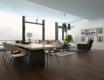 Luksusowego nowożytnego mieszkania żywy izbowy wnętrze ilustracji