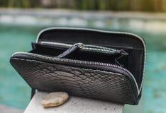Luksusowego pytonu rzemienny portfel jest otwarty, biznesu styl Błękitny basen na backgroun Pyton, kobiety, mężczyzny s torebka,  zdjęcia stock